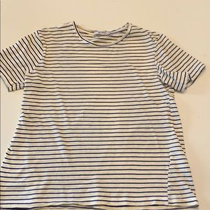Zara blue and yellow striped t shirt.